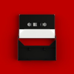 Close up of vintage audio tape cassette with cassette tape box concept illustration on red background, Top view with copy space, 3d rendering