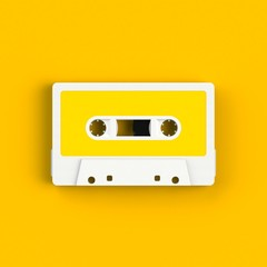 Close up of vintage audio tape cassette illustration on yellow background, Top view with copy space, 3d rendering