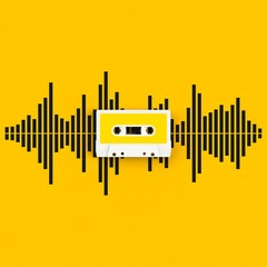 Close up of vintage audio tape cassette with sound waves concept illustration on yellow background, Top view with copy space, 3d rendering