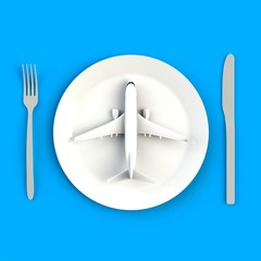 Close up of airplane on plate, knife and fork concept illustration on blue background, Top view with copy space, 3d rendering