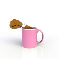 Sunglasses with pink coffee cup isolated on white background. Mock up Template for application design. Exhibition equipment. Set template for the placement of the logo. 3D rendering.