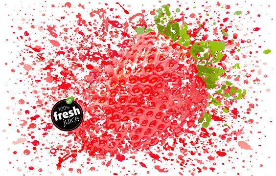 Strawberry with a splash of fresh juice. Explosion delicious berry and splashes of ripe juicy fruit. White background vector Illustration