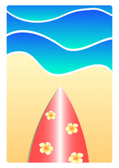 surfboard on the beach illustration summer concept
