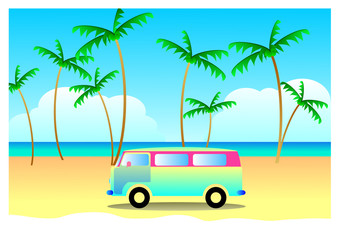 Summer travel concept, vacation with vintage van, Illustration