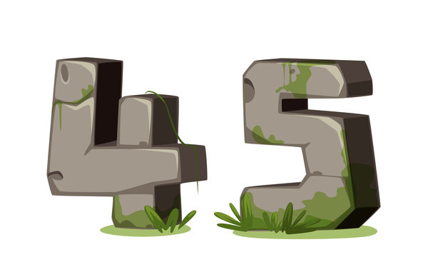 Numbers made of stone for jungle theme part 3