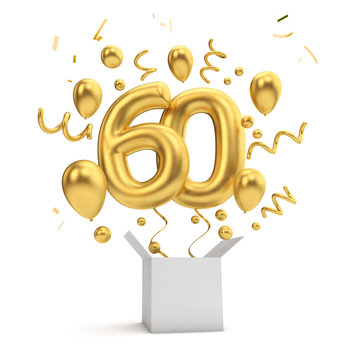 Happy 60th birthday gold surprise balloon and box. 3D Rendering