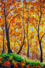 Oil painting landscape - colorful autumn trees - Modern impressionism