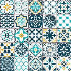 Lisbon geometric Azulejo tile vector pattern, Portuguese or Spanish retro old tiles mosaic, Mediterranean seamless turquoise and yellow design