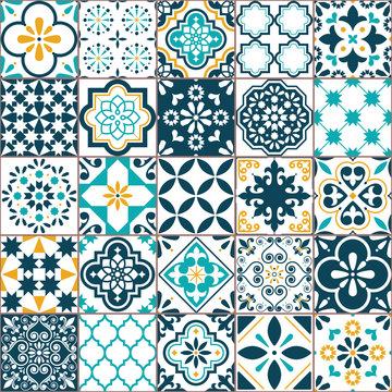 Lisbon geometric Azulejo tile vector pattern, Portuguese or Spanish retro old tiles mosaic, Mediterranean seamless turquoise and yellow design
