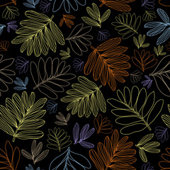 Vector line art leaves seamless pattern, neon colors, black background