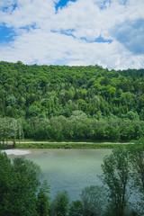 View from Burghausen (Bavaria) towards Austria over the Salzach river