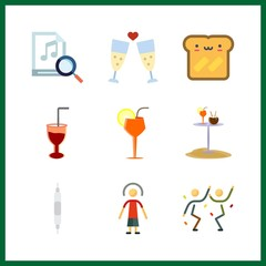 9 club icon. Vector illustration club set. cocktail and volume controller icons for club works