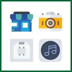 4 electronic icon. Vector illustration electronic set. usb and store icons for electronic works