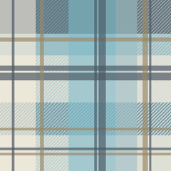 winter plaid in ice blue and beige seamless pattern