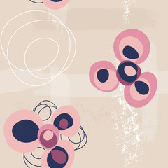 abstract circle flowers on sand seamless pattern