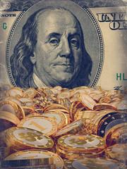Golden coins and 100 Dollar bill - vintage look - 3D Rendering