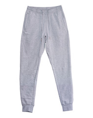 Blank training jogger pants color grey front view on white background