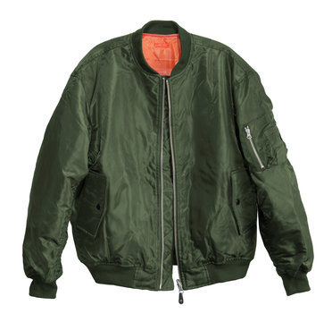 Blank Pilot bomber jacket green color front view on white background