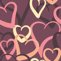 valentine hearts seamless pattern on plum
