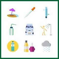 9 drop icon. Vector illustration drop set. rain and pipet icons for drop works