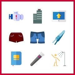 9 clean icon. Vector illustration clean set. engine and showers icons for clean works