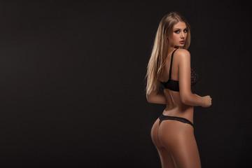 Fototapeta Sensual woman posing in lingerie. obraz