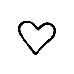Cute cartoon hand drawn heart icon. Sweet vector black and white heart icon. Isolated monochrome doodle heart icon on white background.