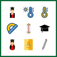 9 degree icon. Vector illustration degree set. certificate and protractor icons for degree works