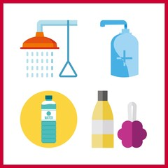 4 wash icon. Vector illustration wash set. gel and bathing icons for wash works
