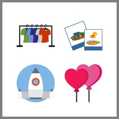 4 creative icon. Vector illustration creative set. stand and balloons icons for creative works