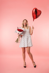 Full length portrait of a beautiful young blonde woman