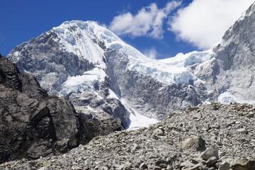 Snow and glacier capped mountain of Cordillera Blanca, Andes Mountains, Peru