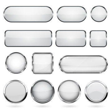 White glass buttons with metal frame. Collection of 3d icons