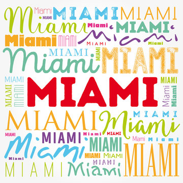 Miami wallpaper word cloud, travel concept background