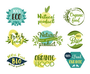 Set of isolated labels, stickers for organic food