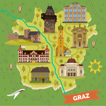 Graz town map with sightseeing landmarks