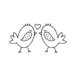Cute cartoon hand drawn birds kissing illustration. Sweet vector black and white birds kissing illustration. Isolated monochrome doodle birds kissing illustration on white background.