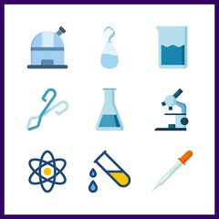 9 scientific icon. Vector illustration scientific set. pipet and observatory icons for scientific works
