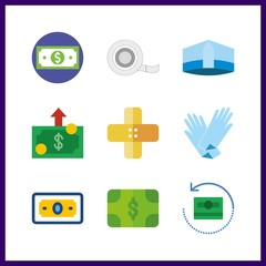 9 aid icon. Vector illustration aid set. money and medical tape icons for aid works