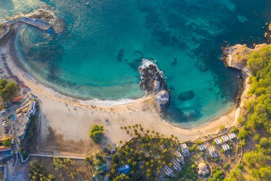 Aerial view of Tarrafal beach in Santiago island in Cape Verde - Cabo Verde