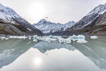 View of Mount Cook with ice from the Hooker Glacier