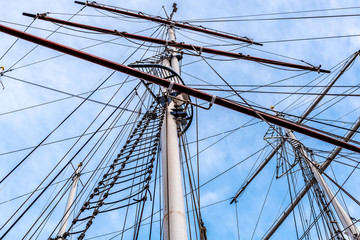 The masts and the ropes of a ship