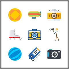 9 hobby icon. Vector illustration hobby set. ball and zeppelin icons for hobby works