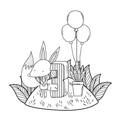 cute and little fox with balloons helium in the landscape
