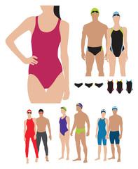 professional swimming suits models illustration