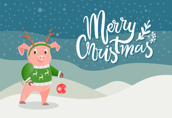 Merry Christmas postcard with pig in green sweater with reindeer and horns on head, ball toy in paws on winter scenery landscape. Card with piglet in snow, vector