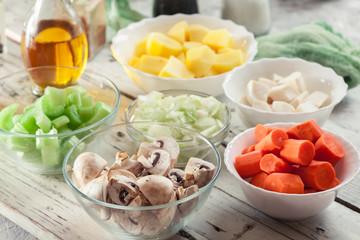 Ingredients for preparing vegan Irish stew