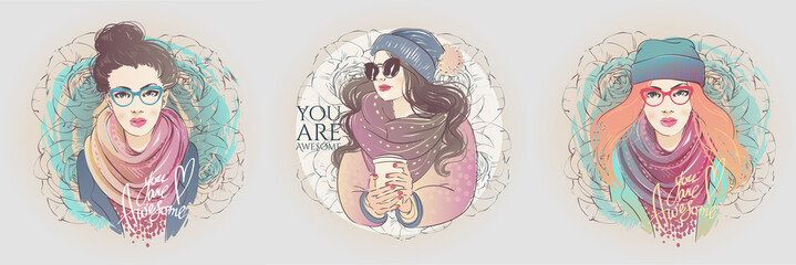 Beautiful hipster hairstyle beam young women in a fashion blue jacket with scarf and glasses. Vector hand drawn illustration.