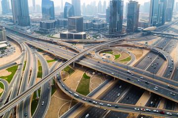 Aerial view Dubai skyline Road traffic