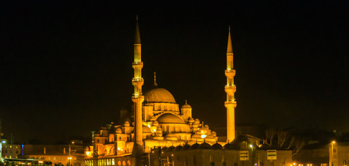 Minarets and domes Mosque Turkey.
